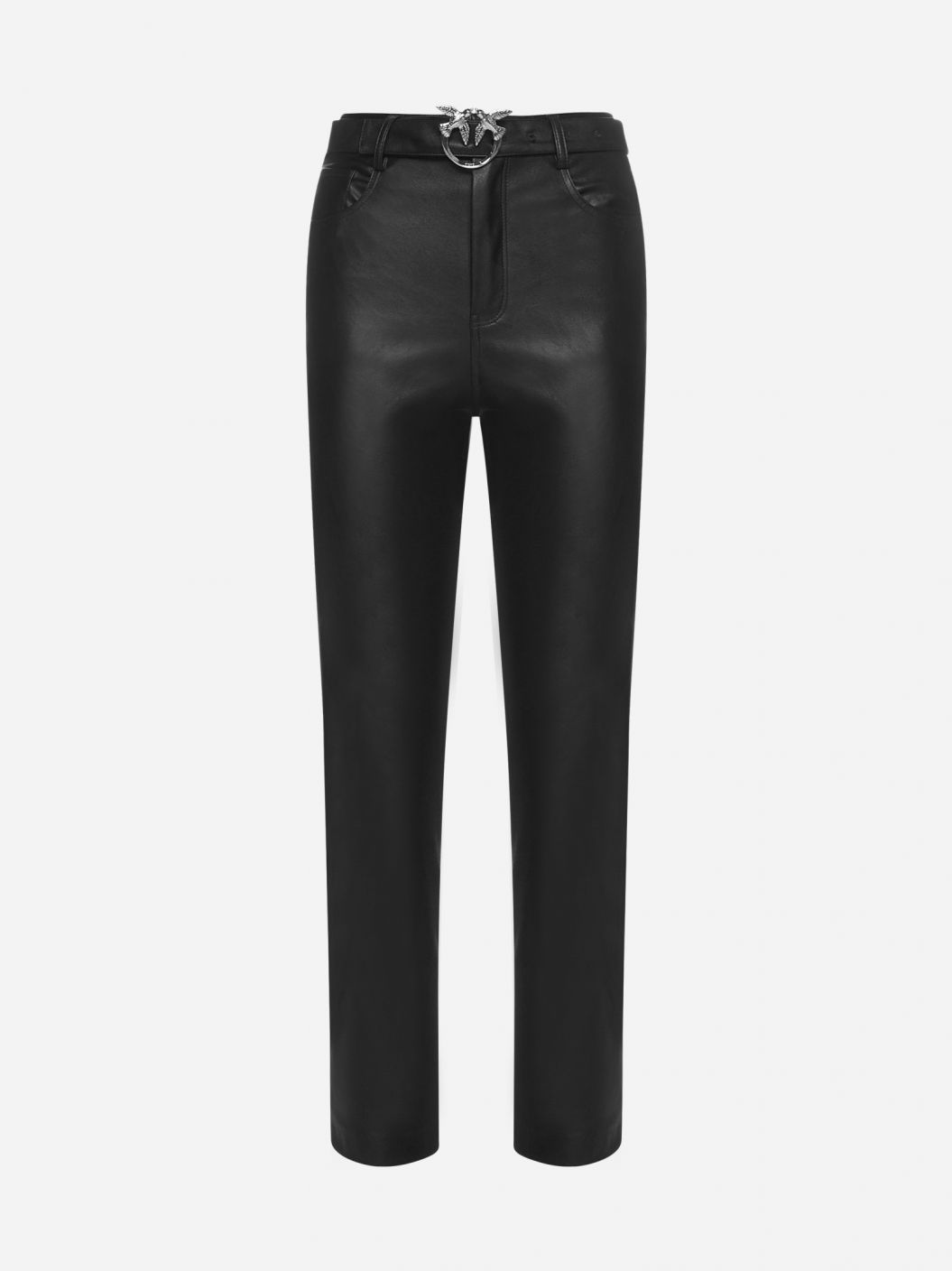 Susan belted faux-leather trousers