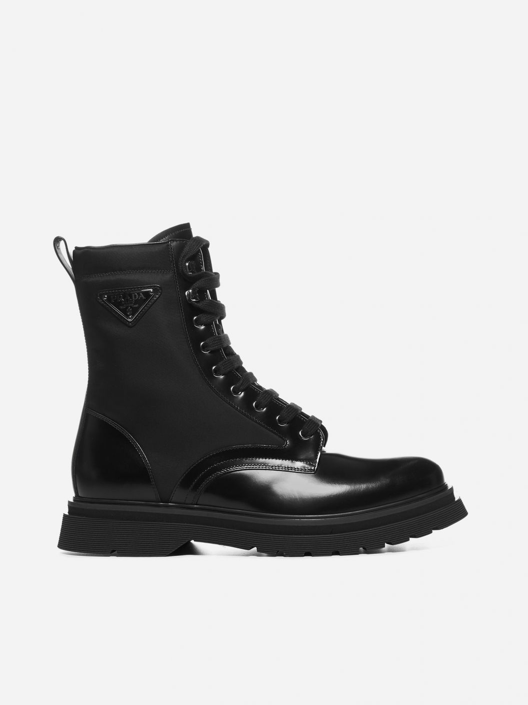 Leather and nylon combat boots