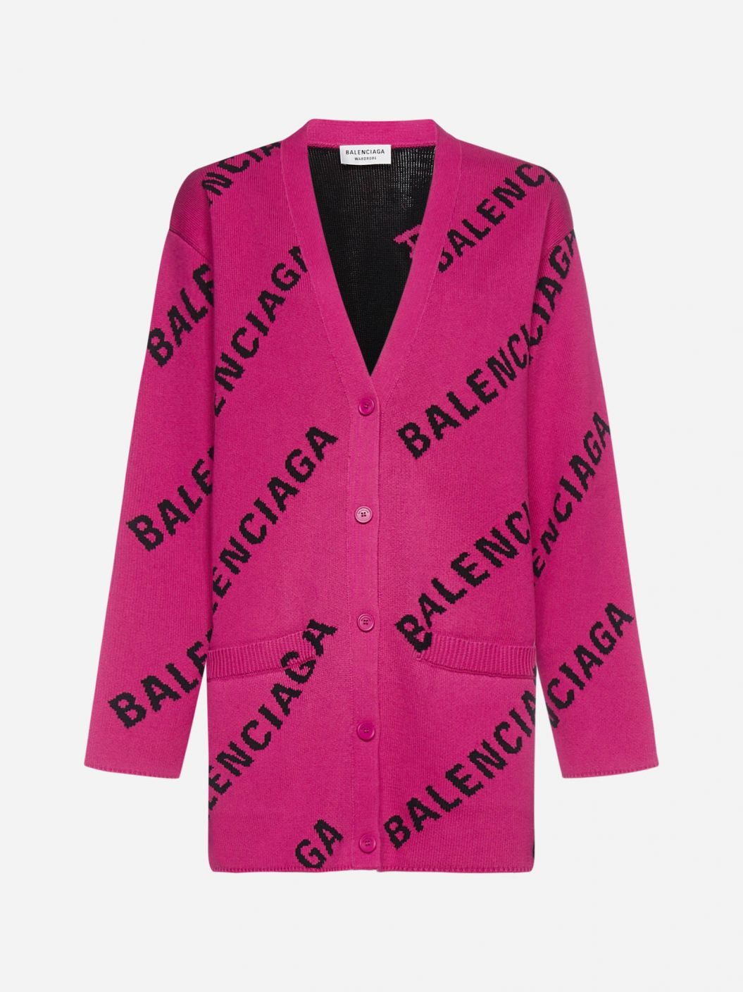 All-over logo cotton and wool-blend cardigan