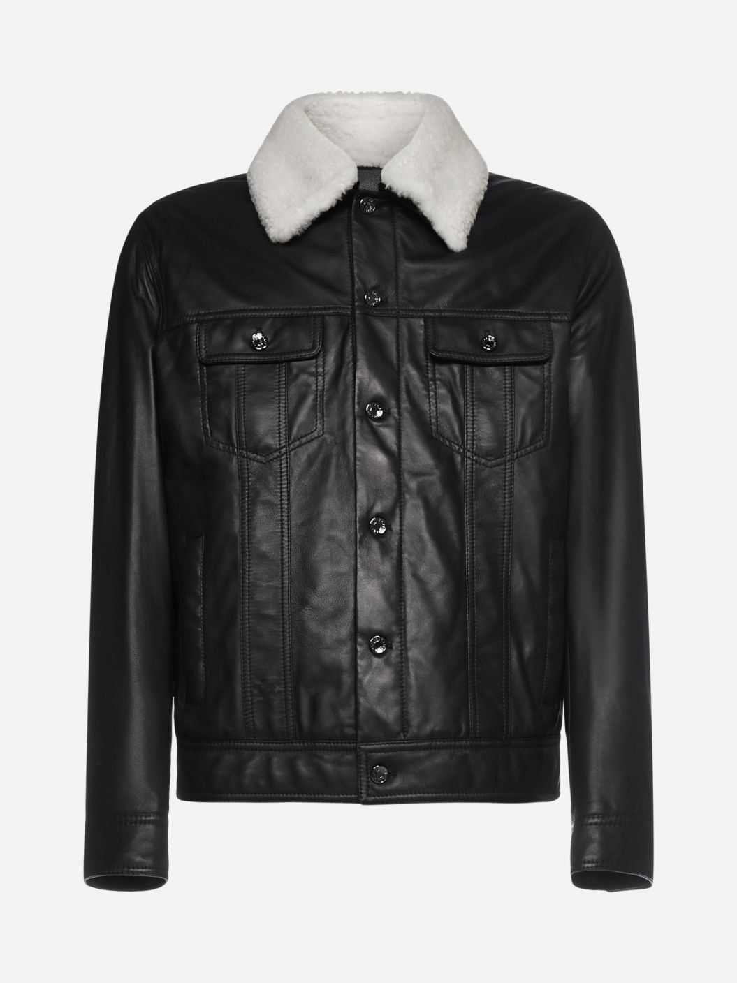 Shearling-collar leather bomber jacket