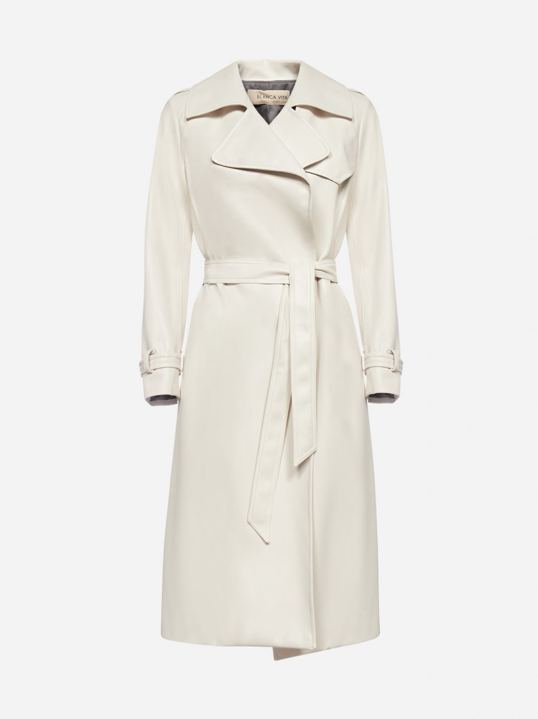 Tulipa faux-leather trench coat