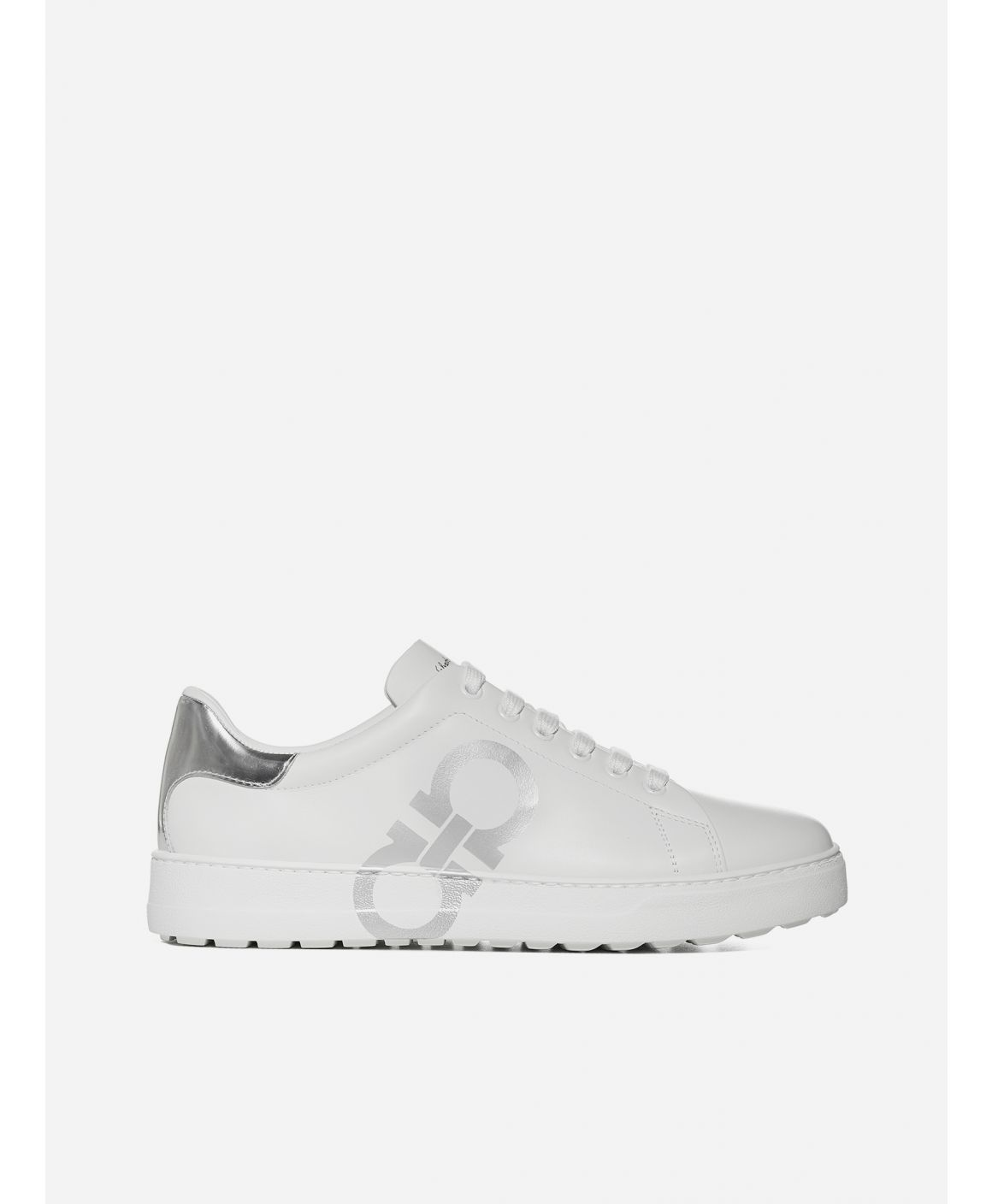 Number leather sneakers