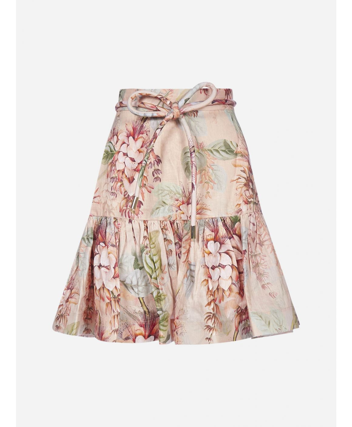 Candescent floral print linen mini skirt