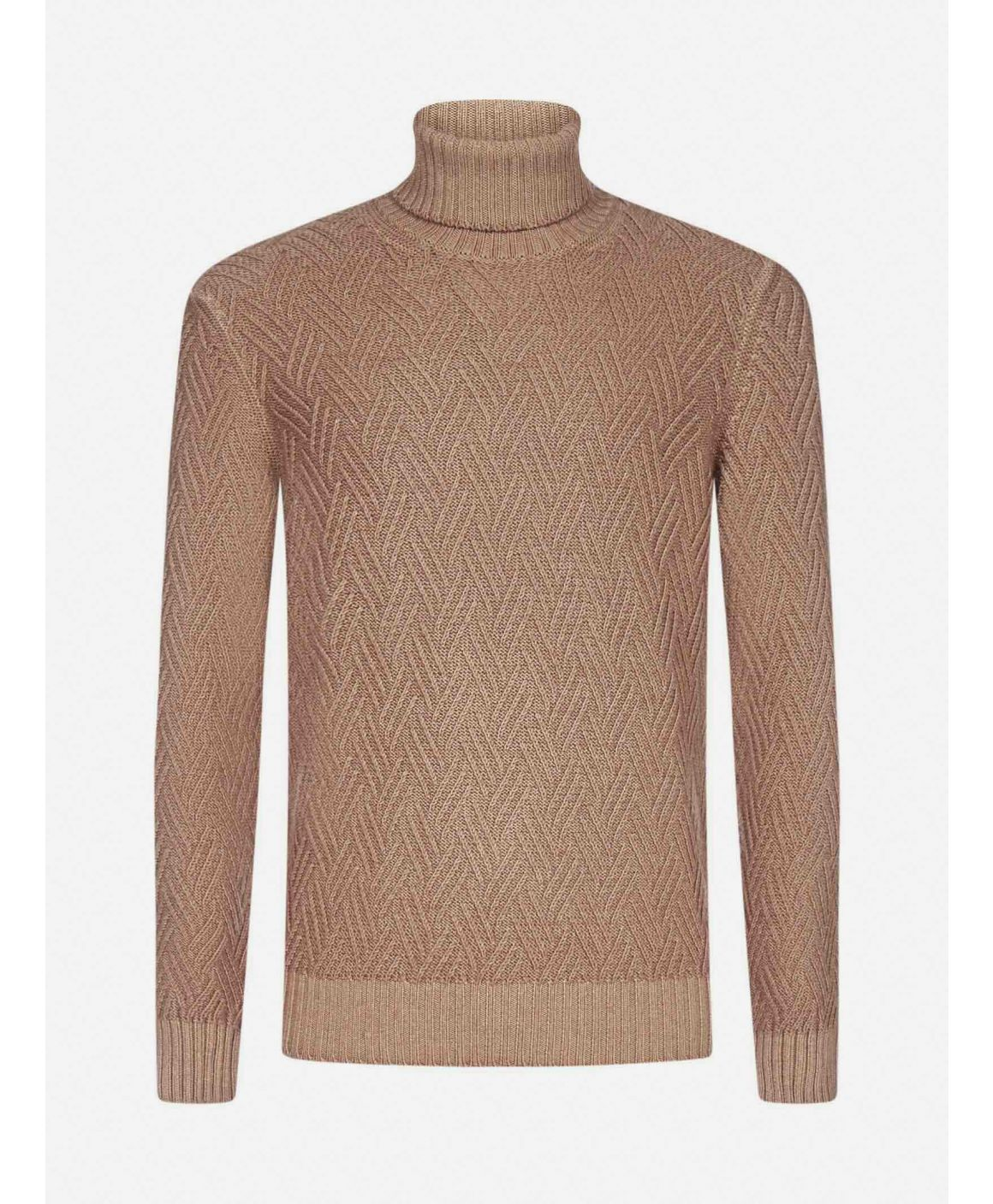 Cable-knit virgin wool turtleneck