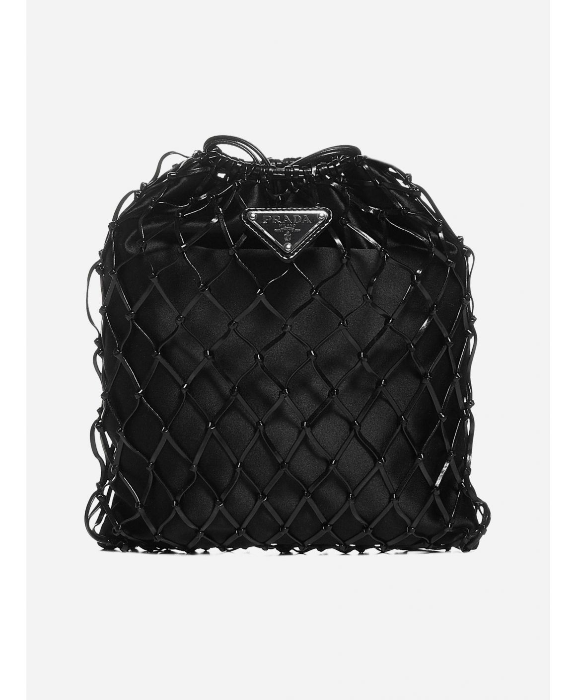 Logo-plaque net bucket bag