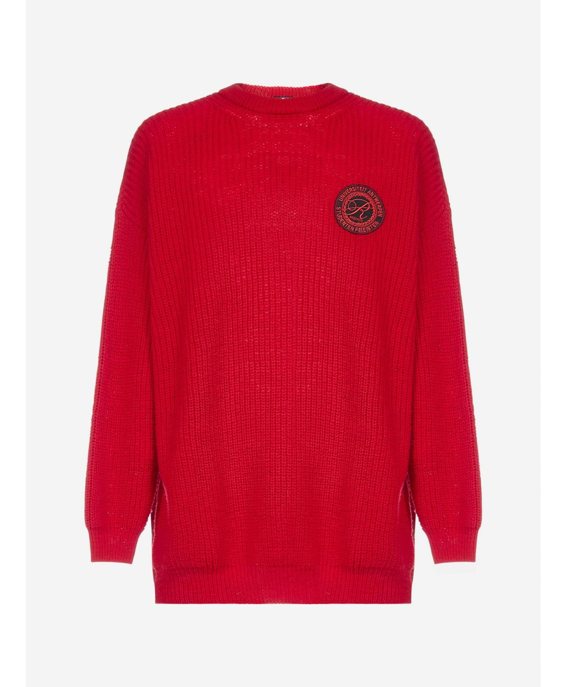Badge-logo oversized wool sweater