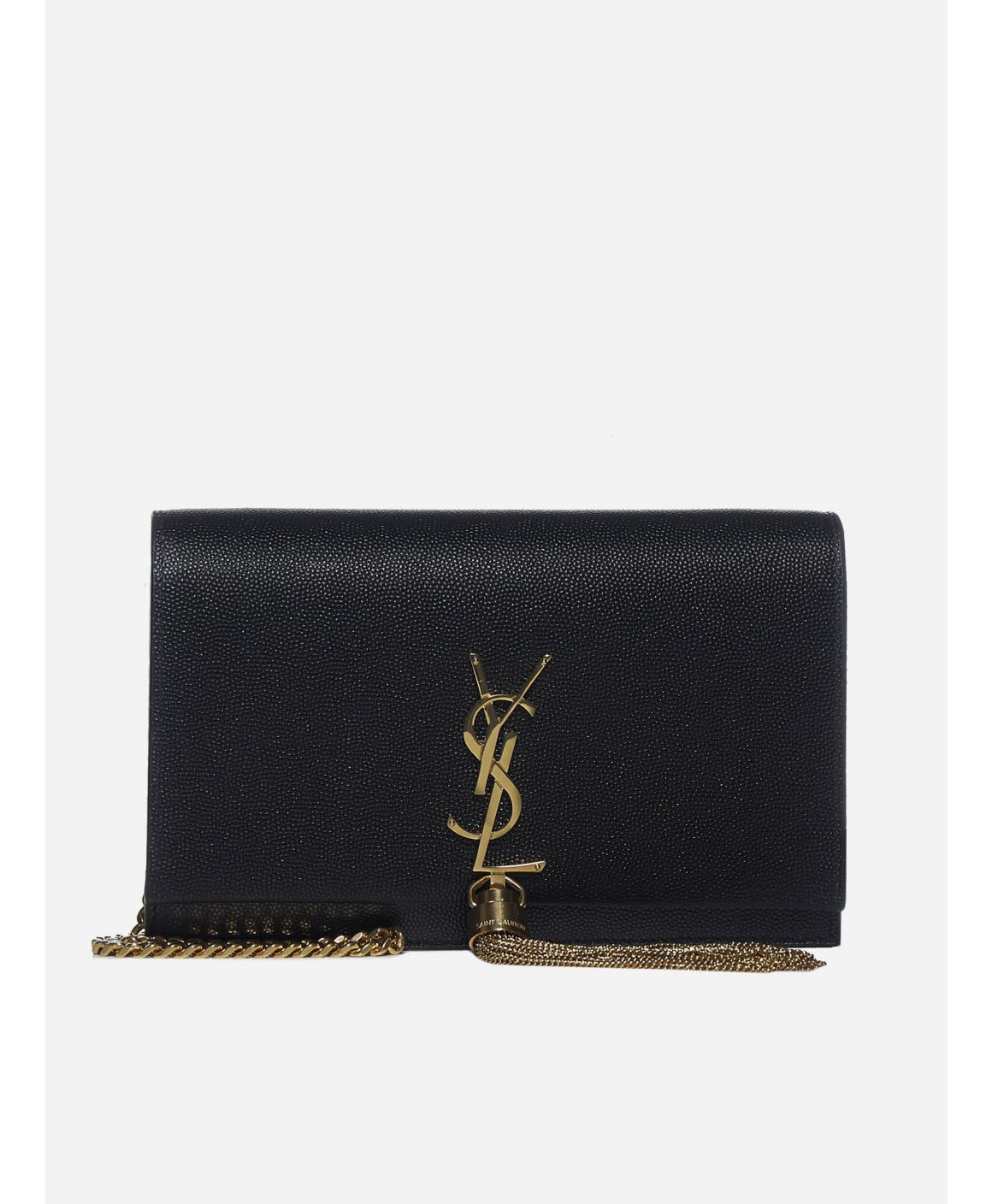 Monogram grained leather clutch bag