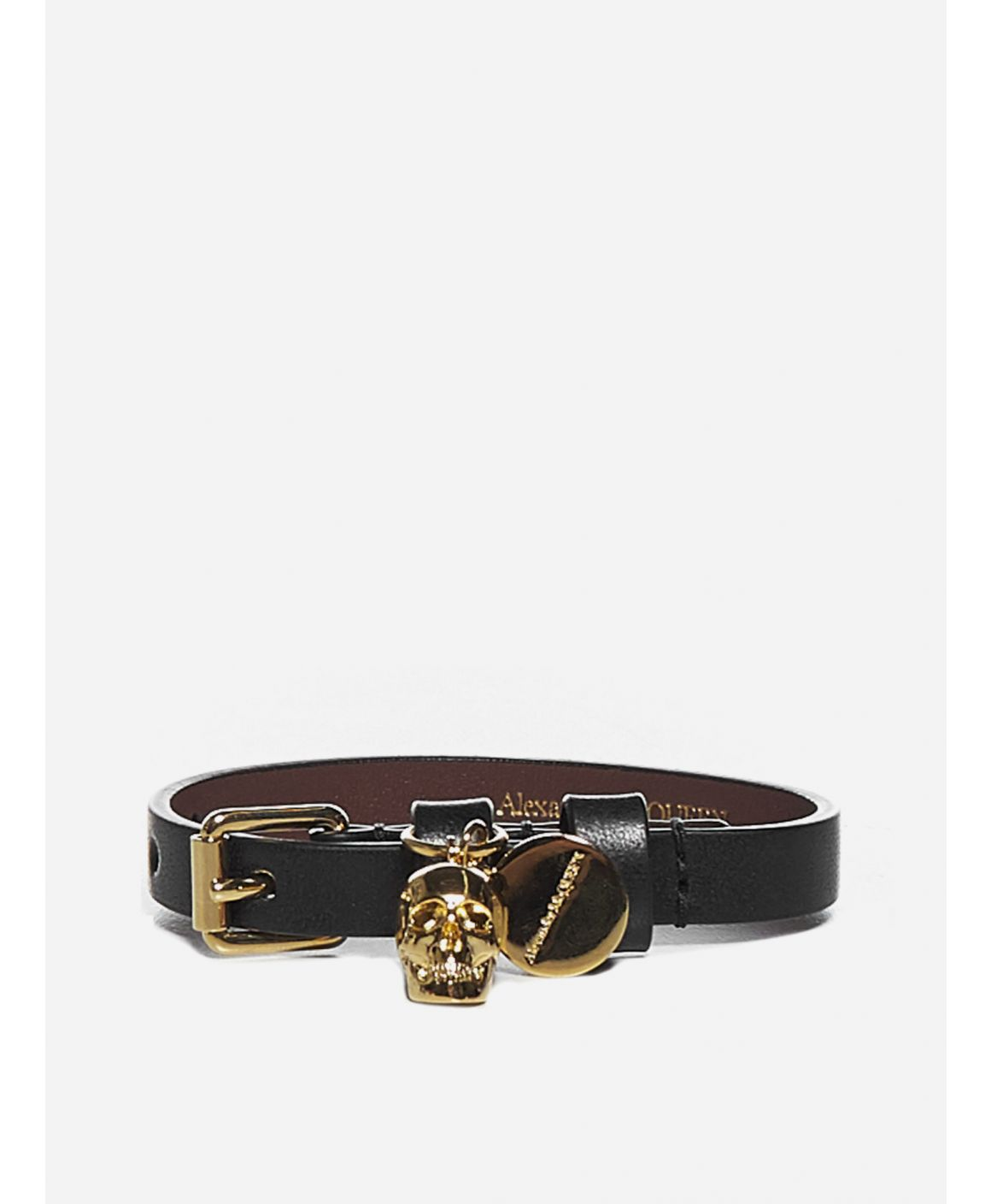 Skull and logo leather bracelet