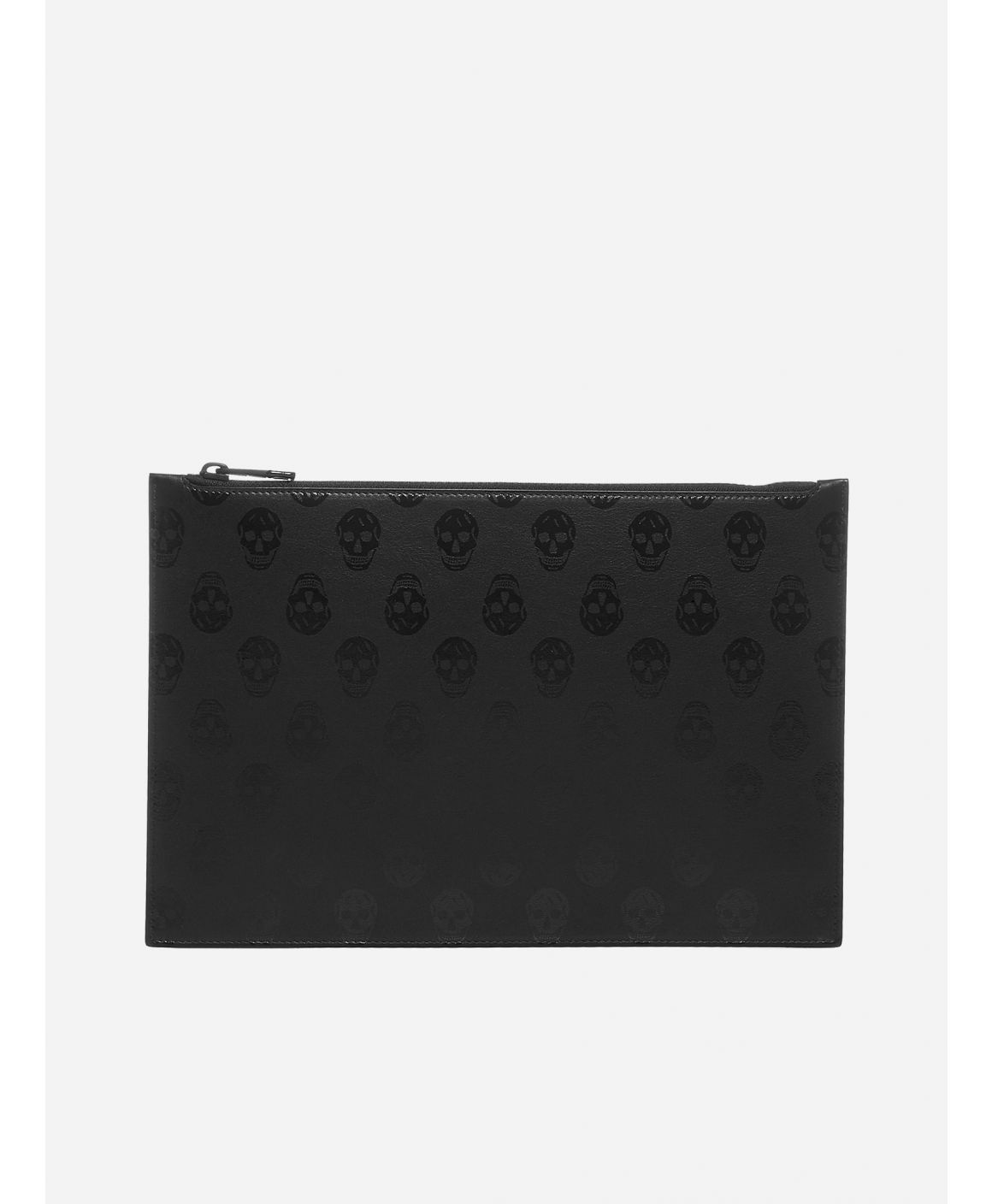 Skull print leather clutch