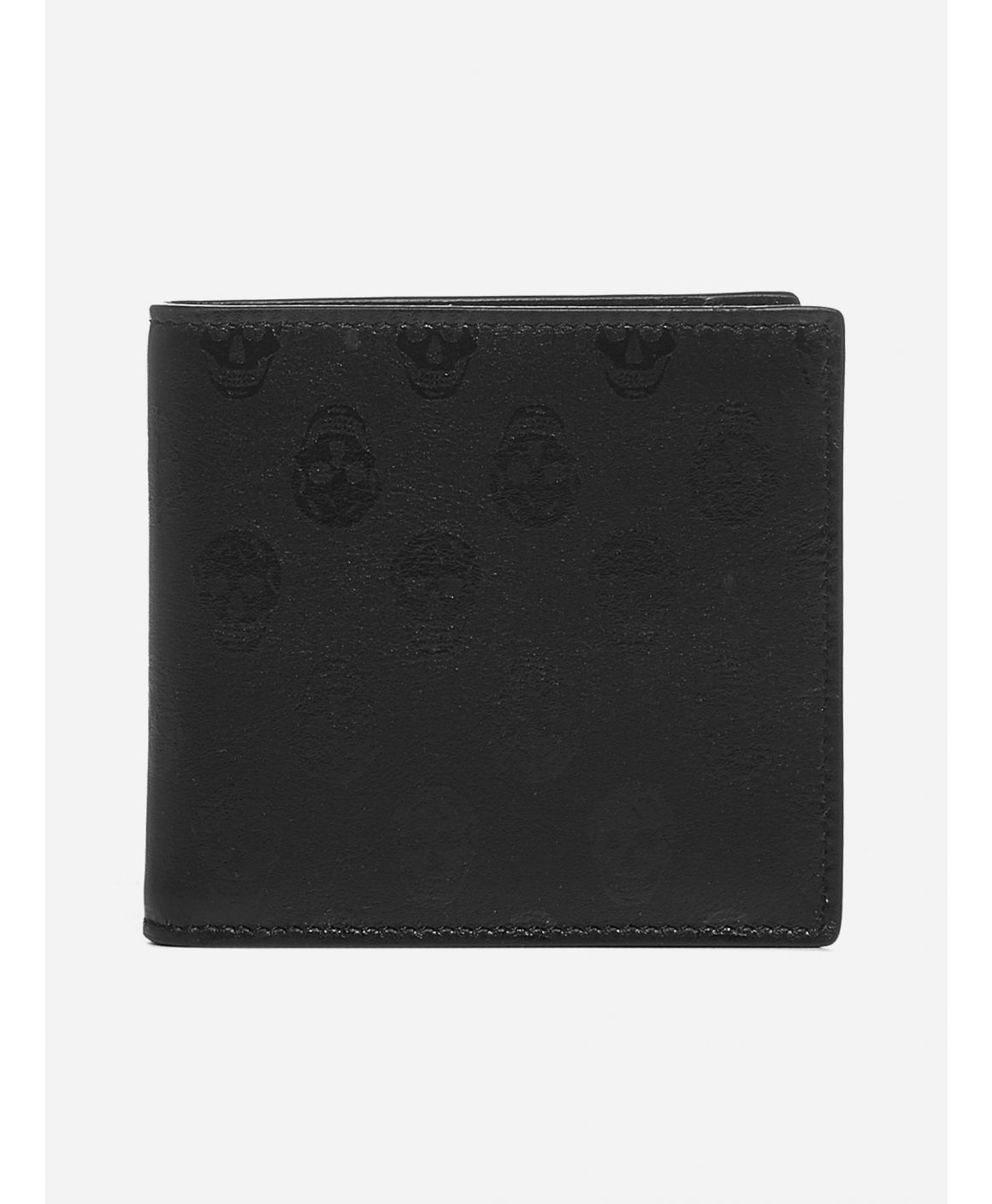 Skull print leather bifold wallet