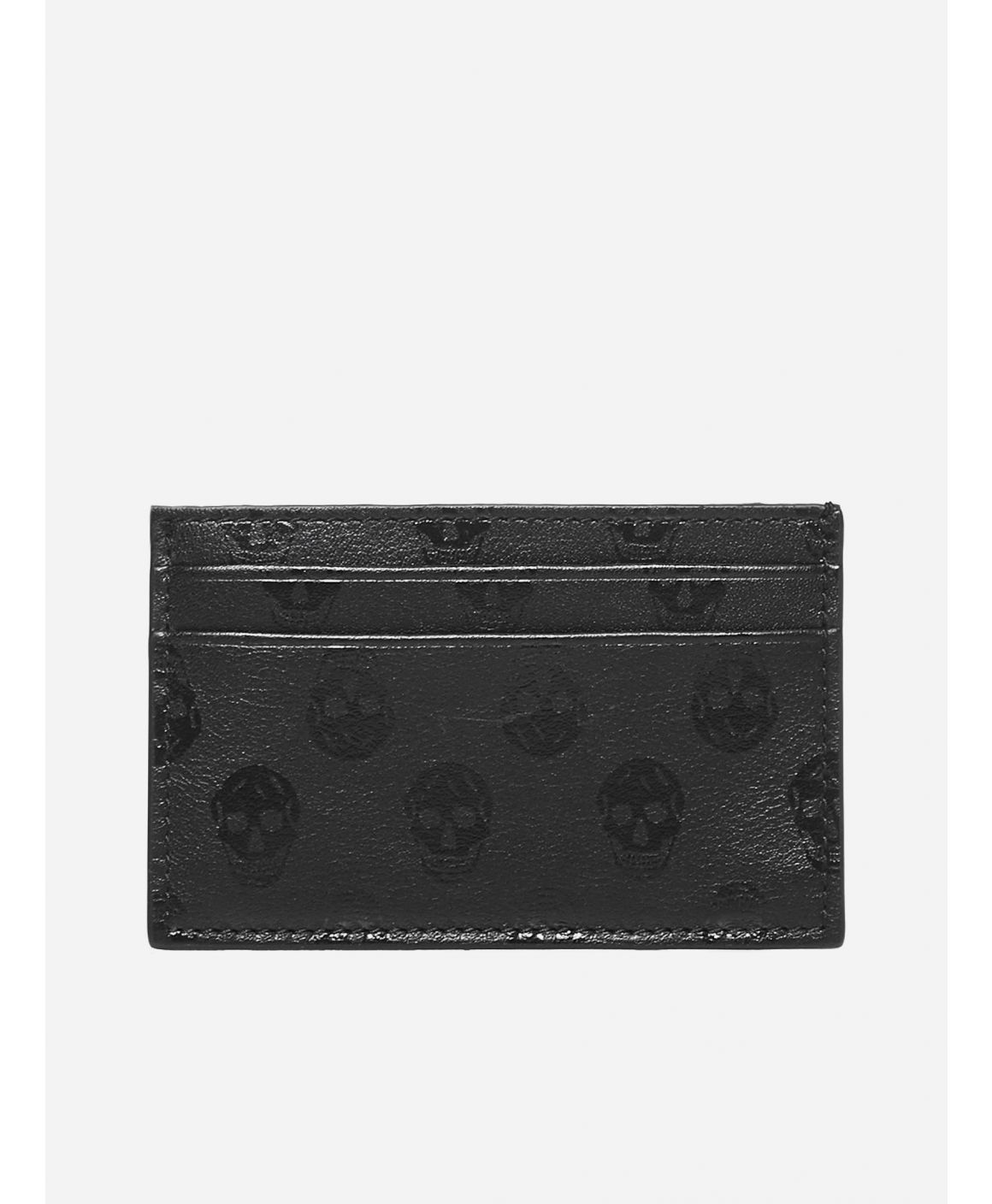 Skull-motif leather card holder