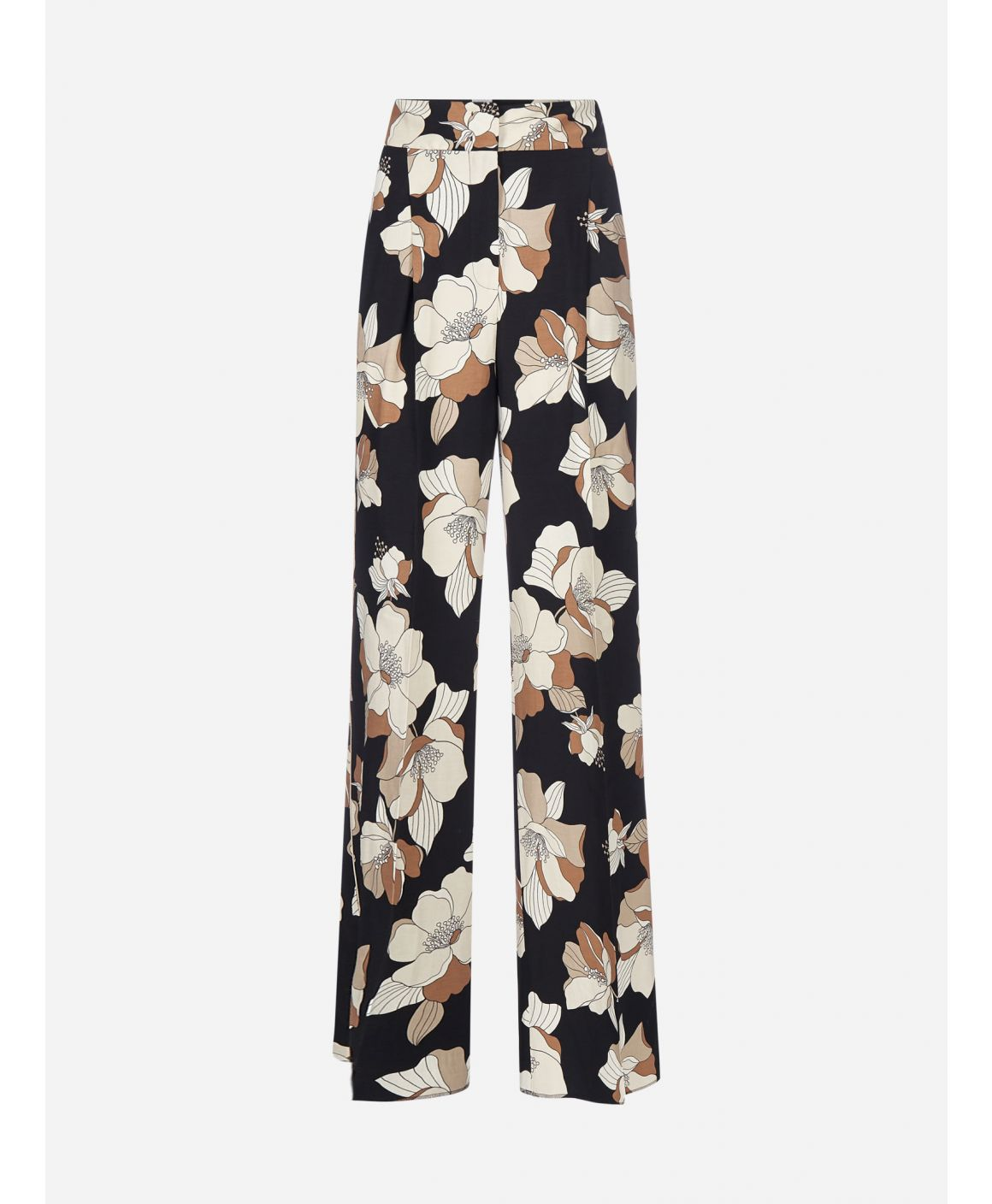 Farnese floral print viscose and linen trousers