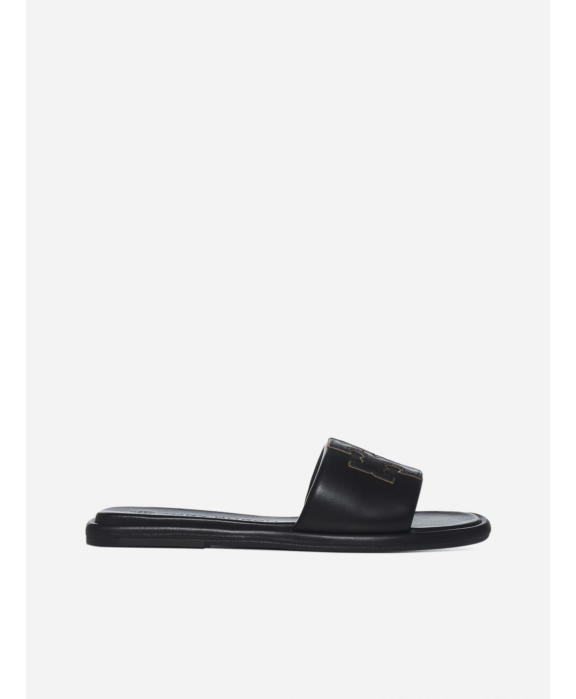 Logo leather slides