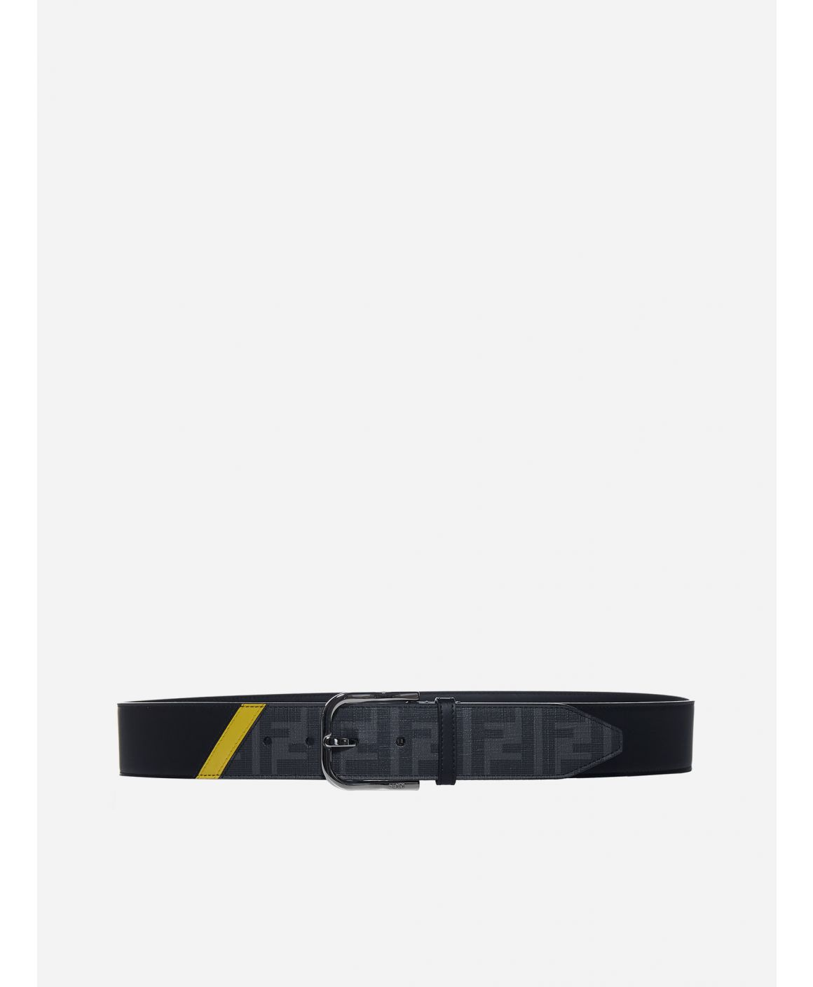 Leather and FF logo fabric belt