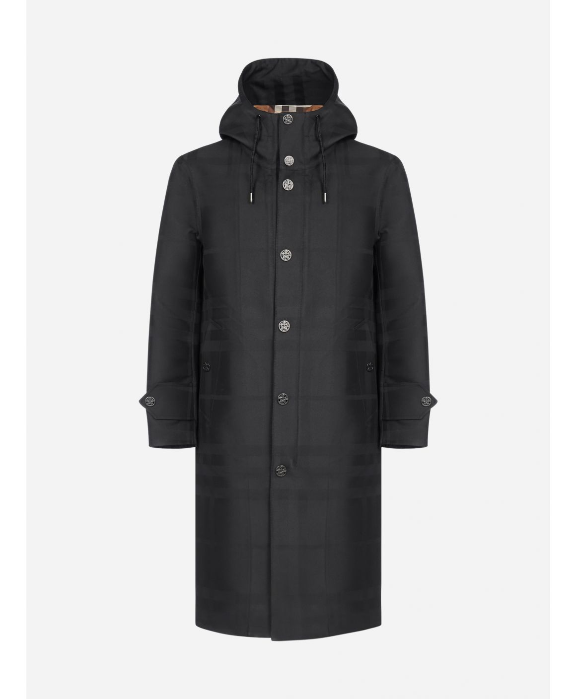 Hooded technical cotton trench coat