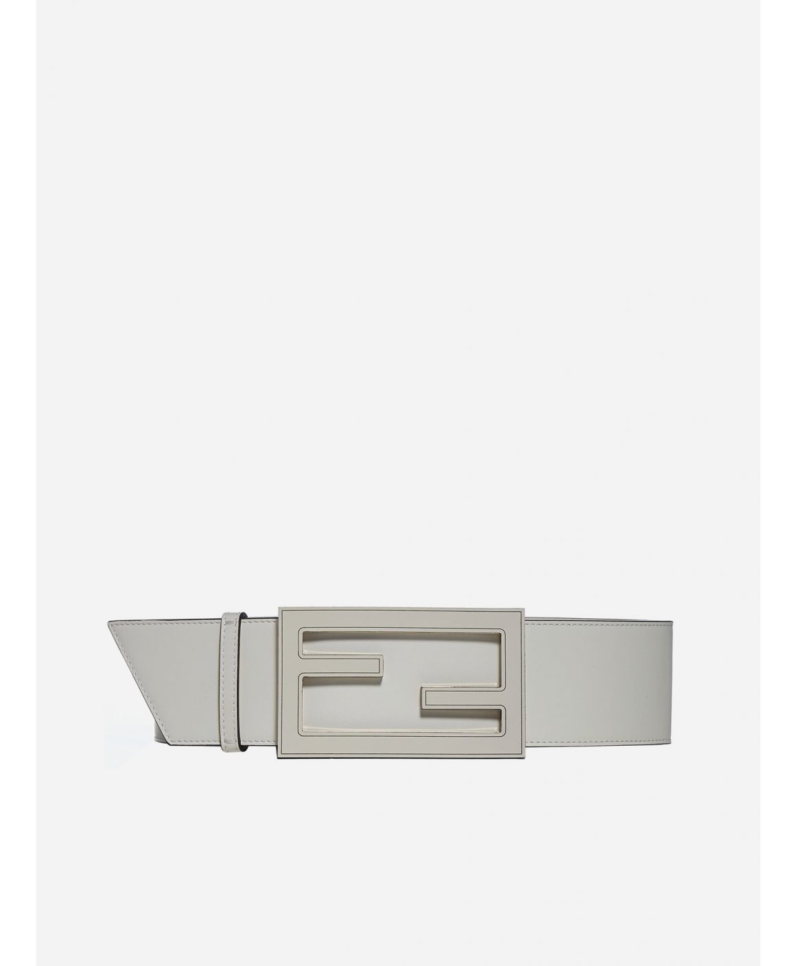 Logo-buckle leather belt
