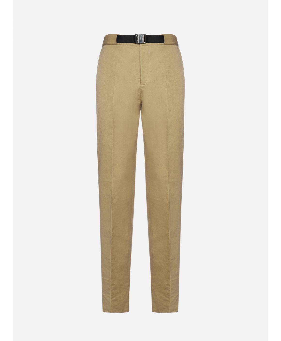 Belted cotton and linen trousers