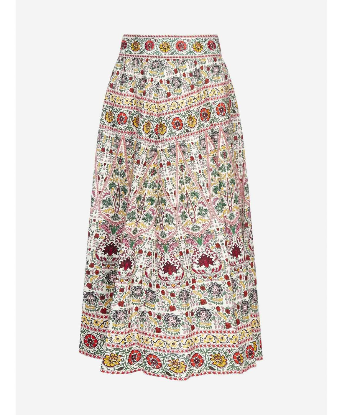 Earla printed blend linen midi skirt