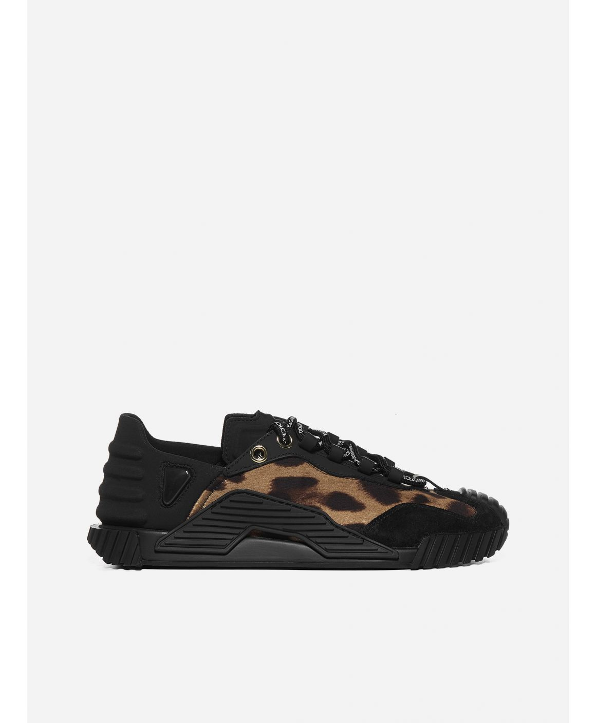 NS1 leather, rubber and leopard print sneakers