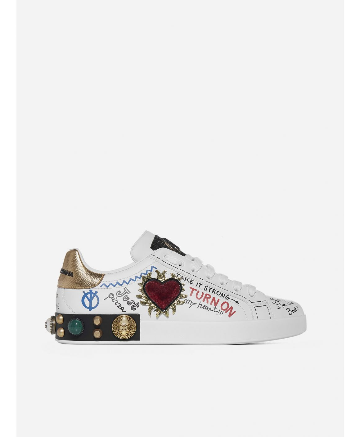 Portofino patch and embroidery leather sneakers