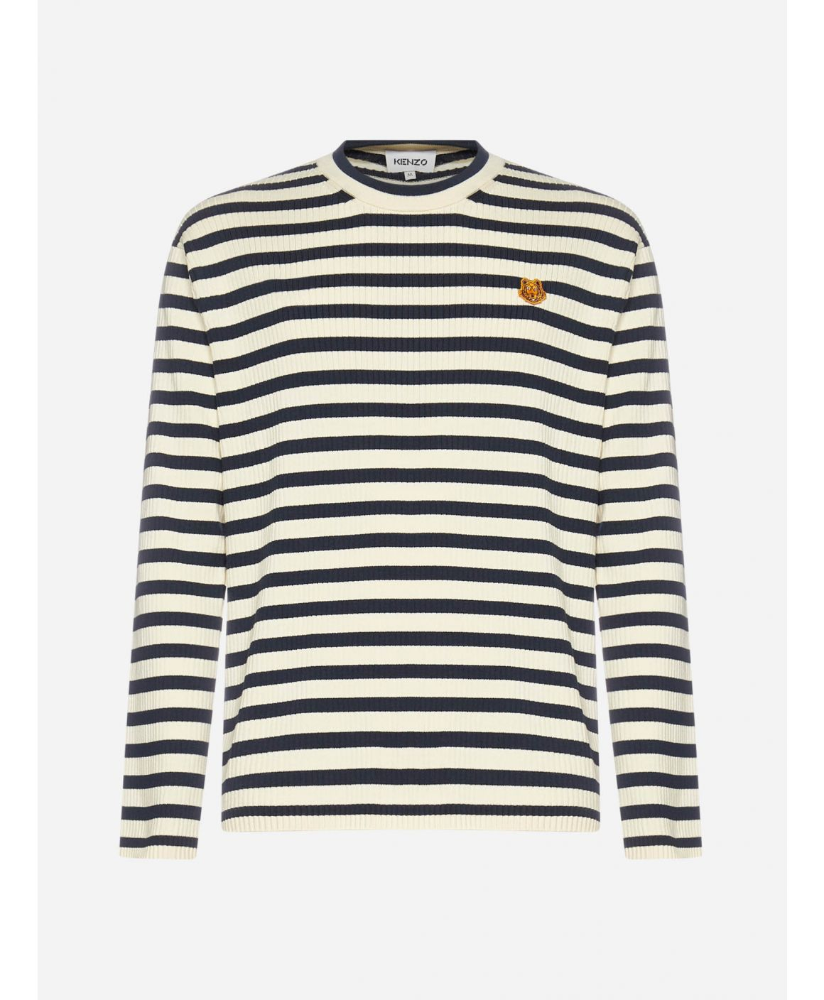 Tiger-patch striped cotton sweater