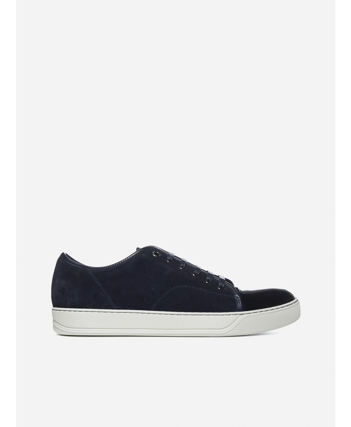 Patent leather toe-cap suede sneakers