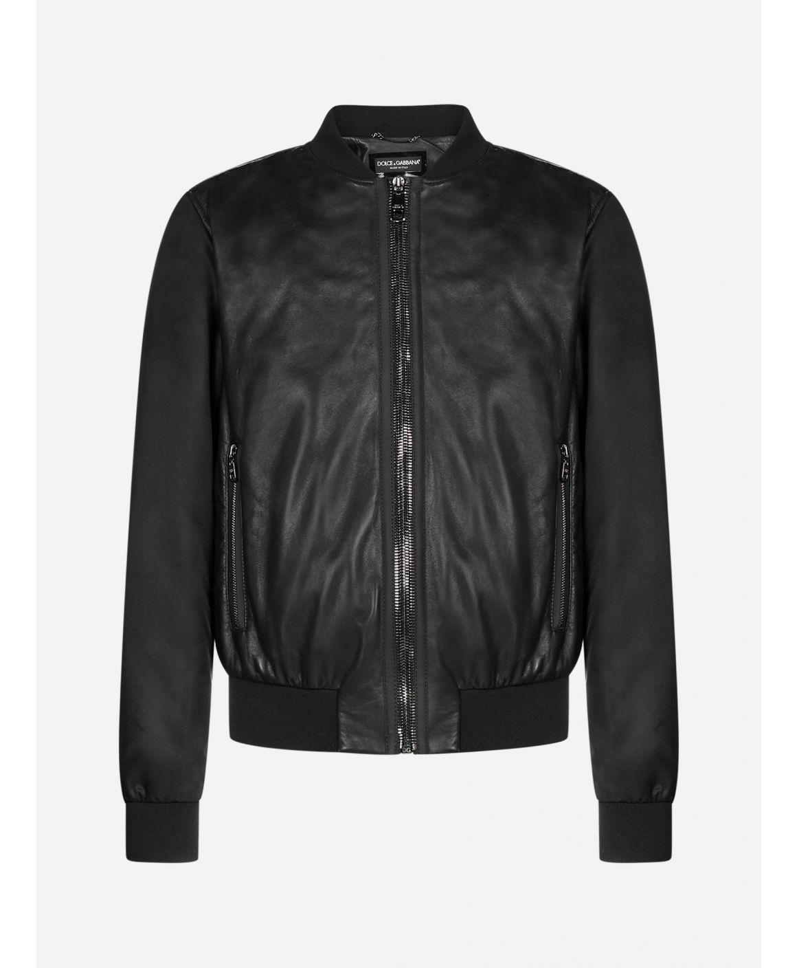 Leather and nylon bomber jacket