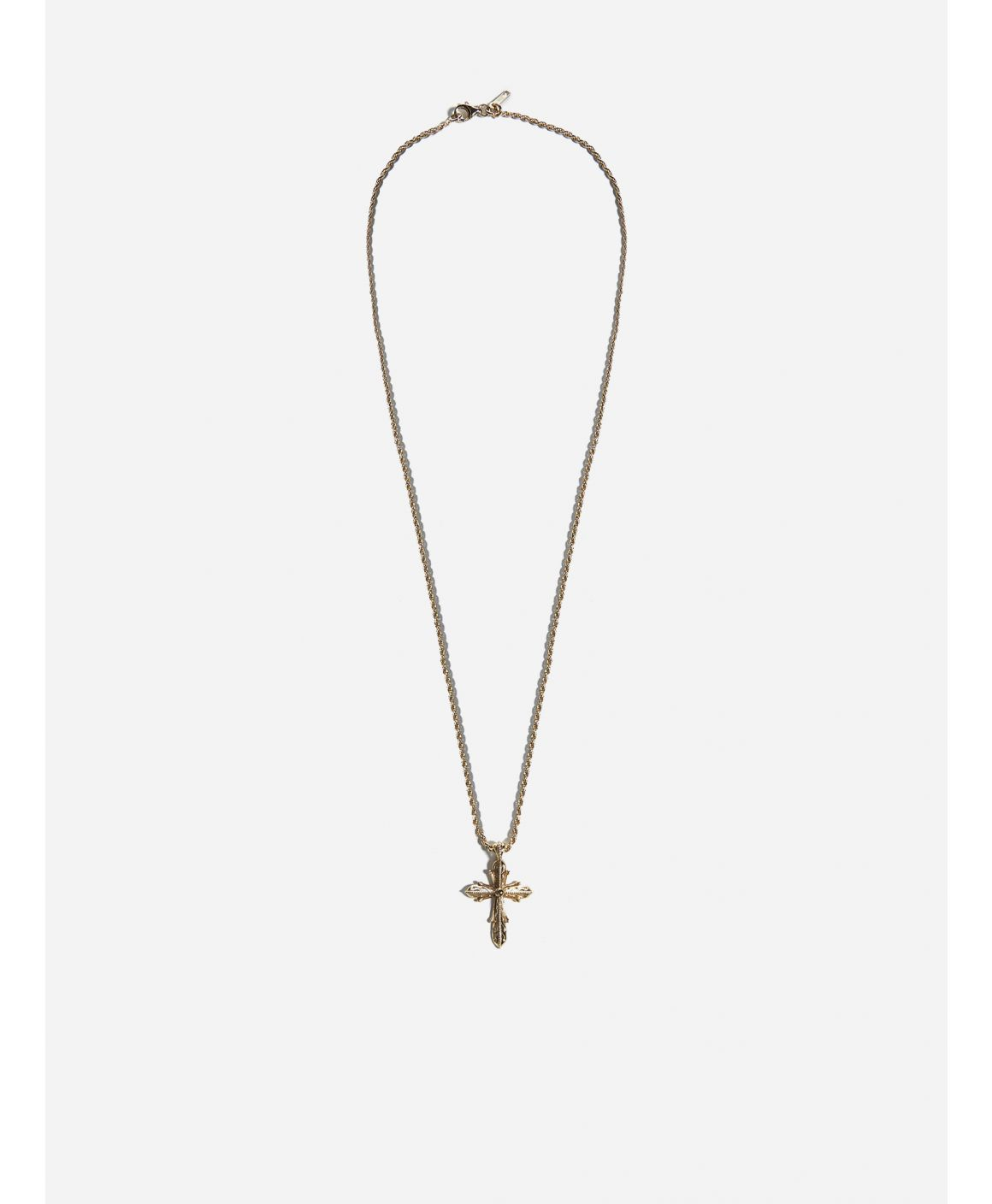 Cross-pendant gold pleated silver necklace
