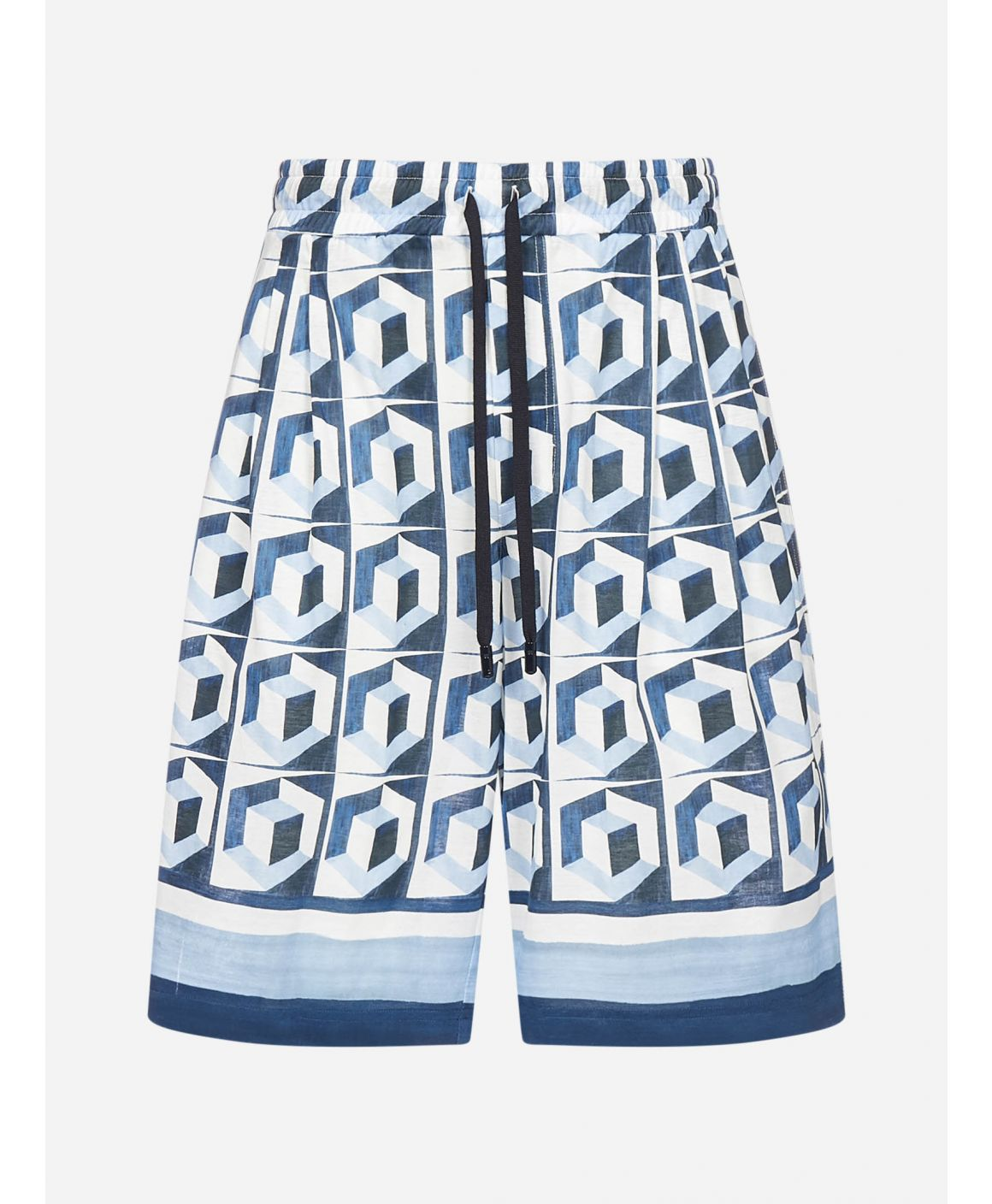 Majolica graphic print cotton shorts