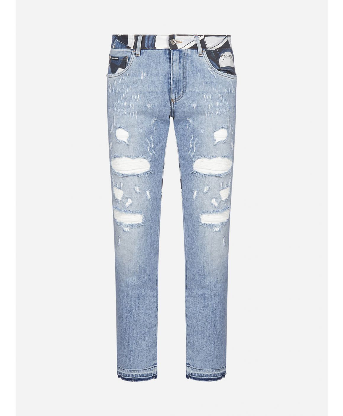 Majolica-print stretch slim jeans