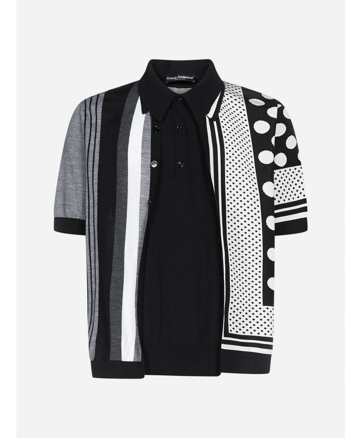 Polka-dot and striped 2-in-1 cotton blend polo shirt