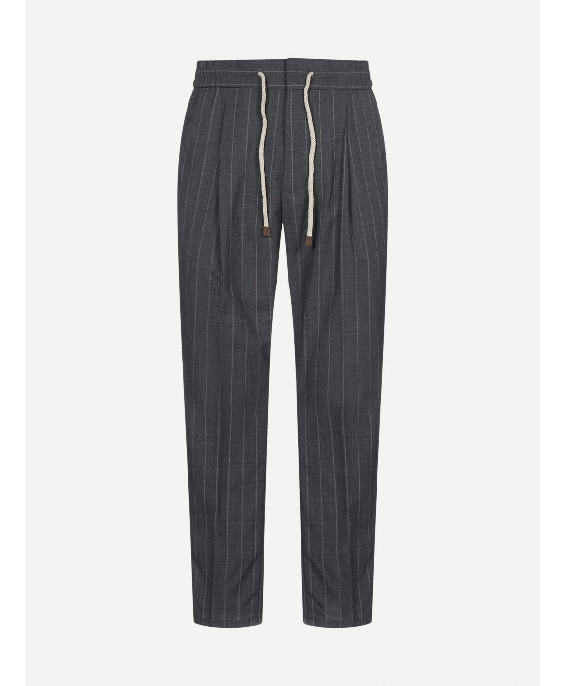 Pinstriped virgin wool trousers