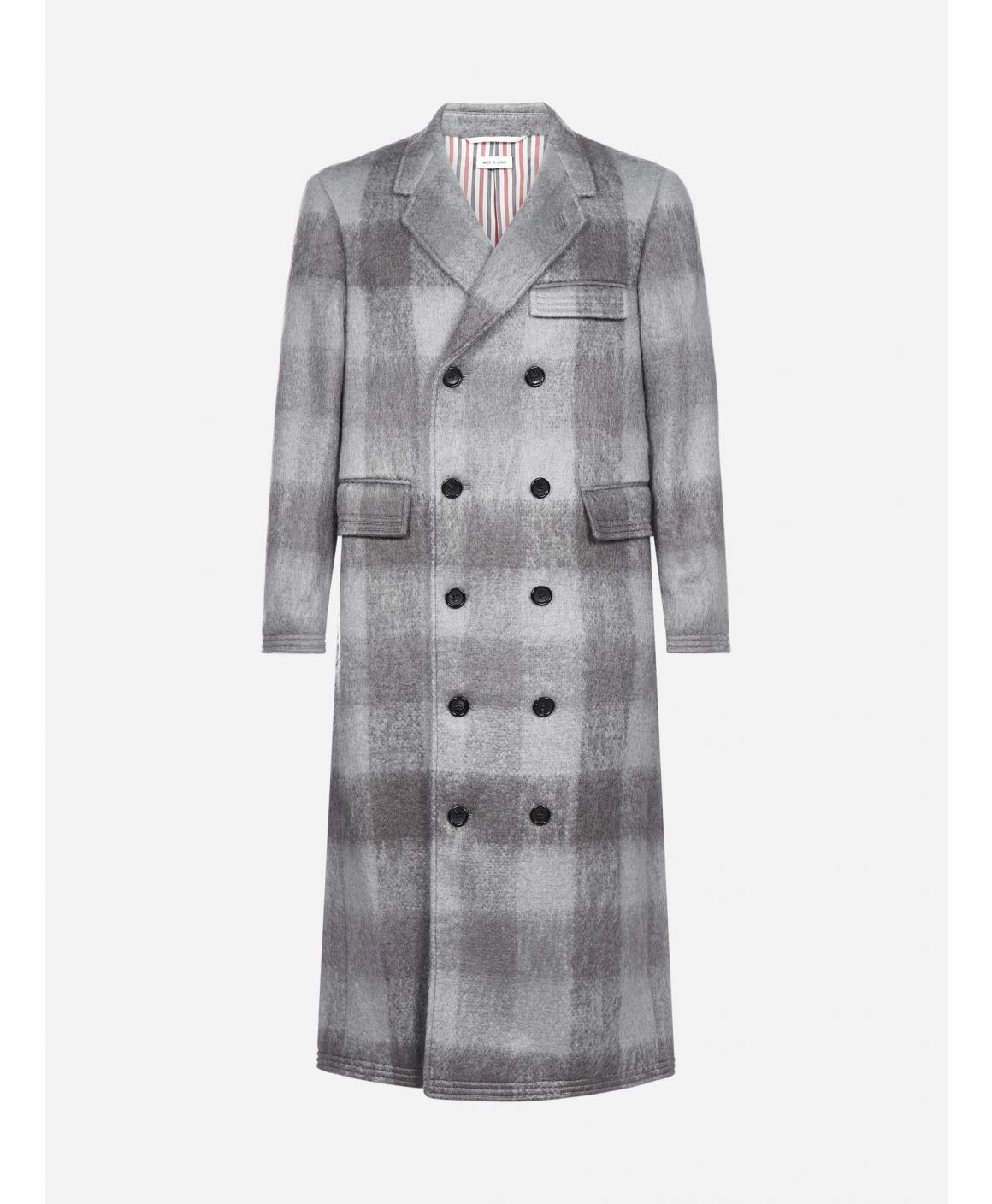 Check wool and mohair double breasted coat