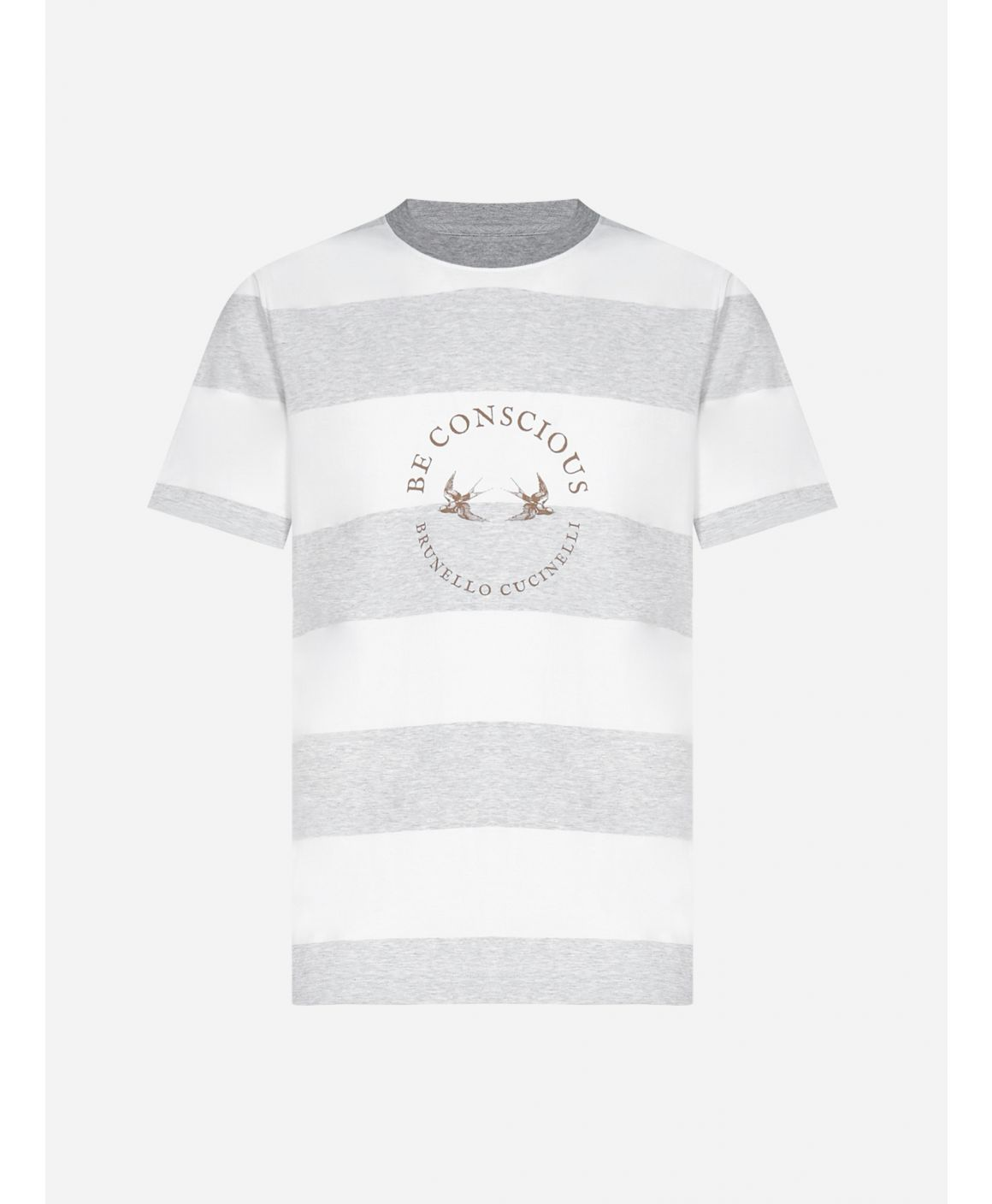 """Be Conscious"" striped cotton t-shirt"