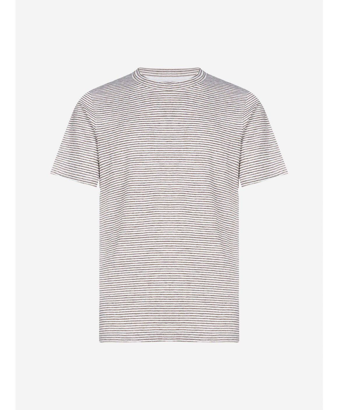 Striped stretch linen t-shirt