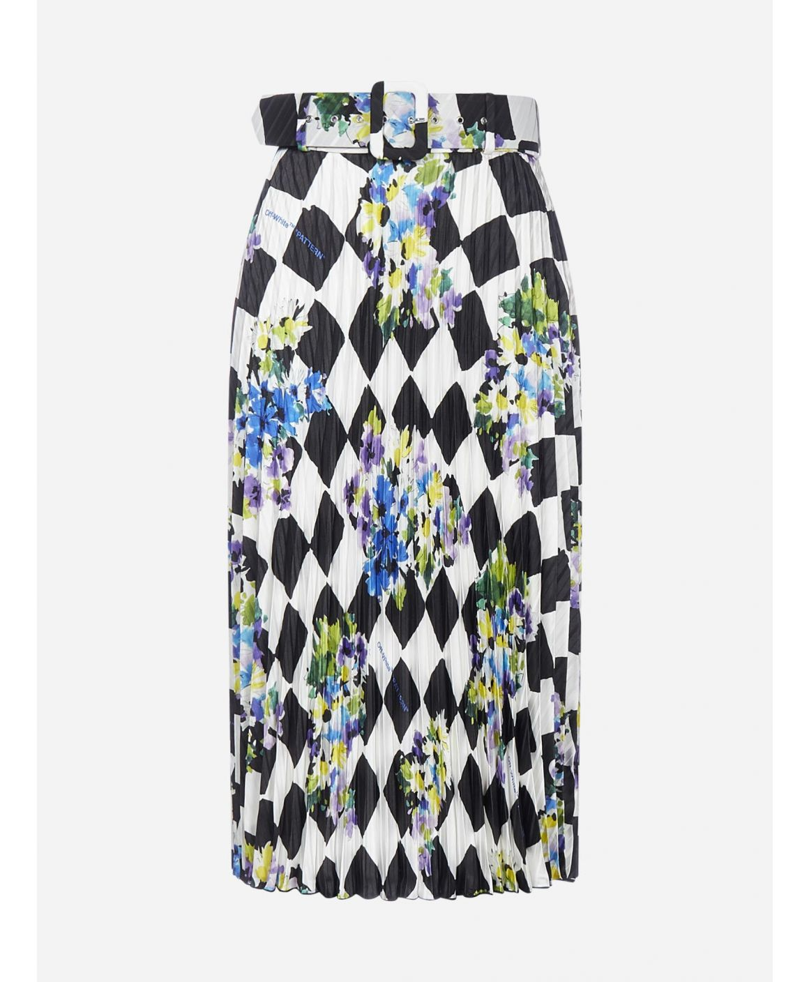 Check and floral print pleated skirt