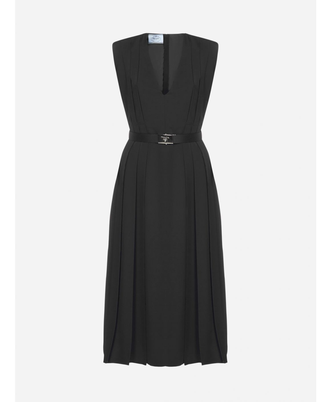 Logo-buckle belted ponge' midi dress