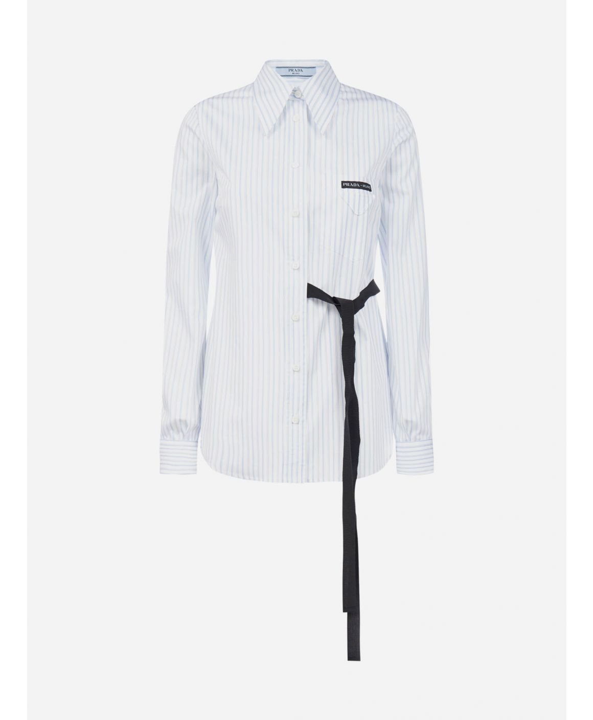 Bow-detail striped cotton shirt