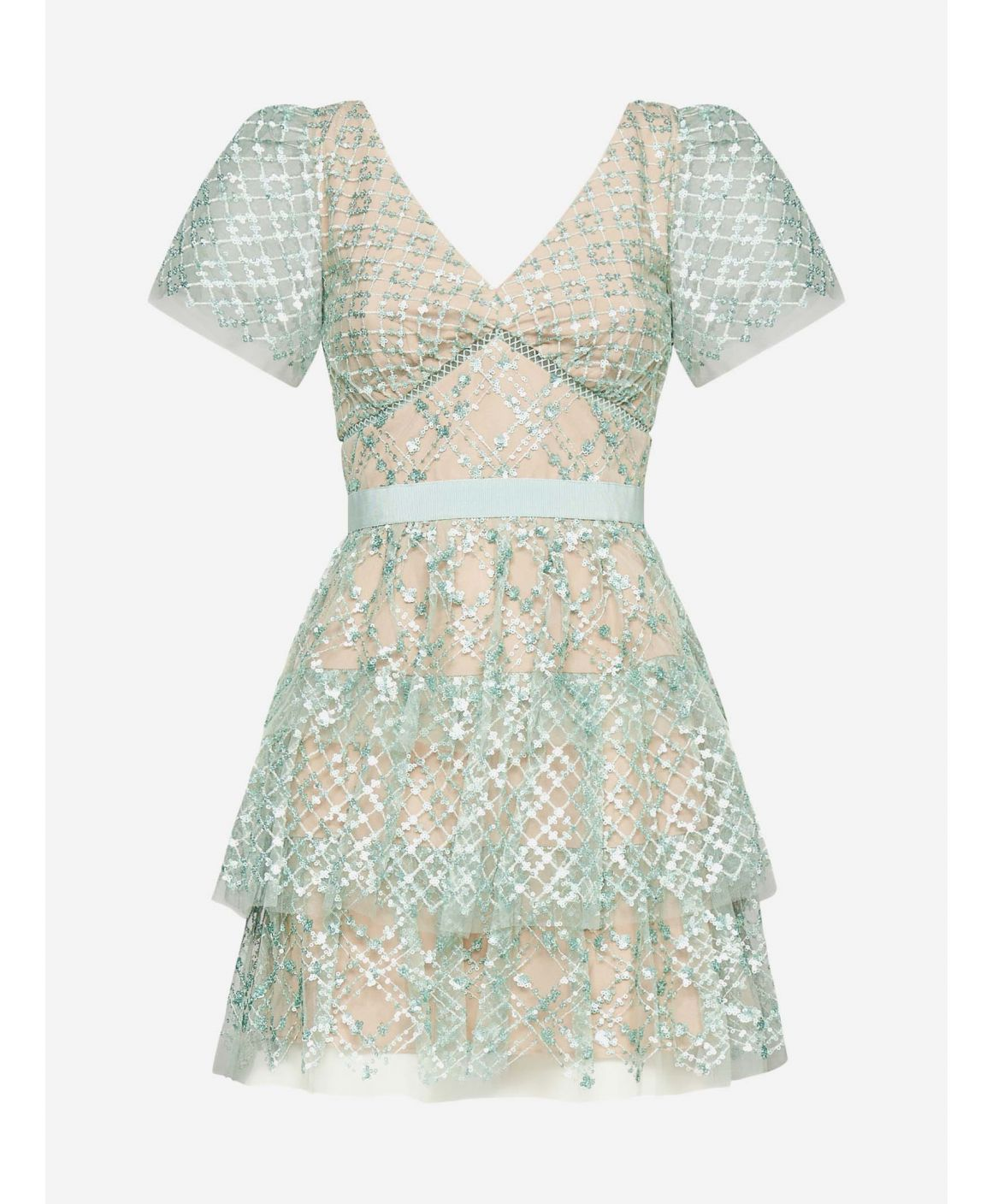 Sequins grid lace and mesh mini dress