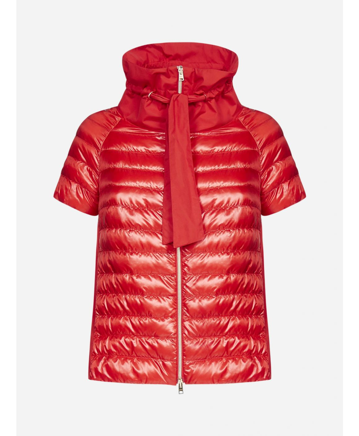 Quilted nylon half sleeved down jacket