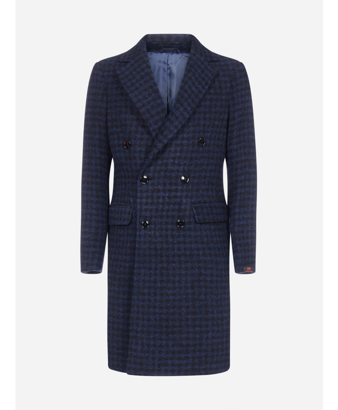 Roger double-breasted gingham virgin wool coat