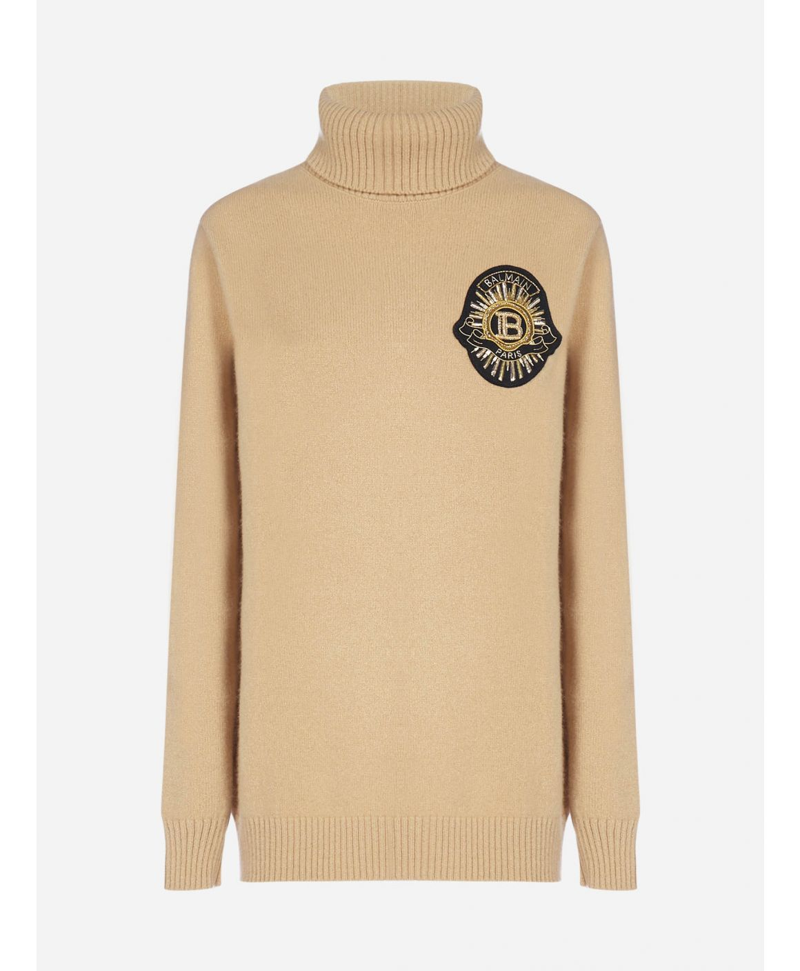 Logo-patch wool and cashmere turtleneck
