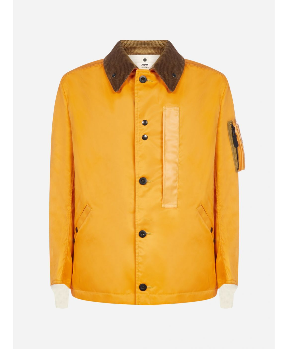 Corduroy-collar nylon twill jacket